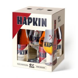 Hapkin Discovery Pack geschenk 4 x 33cl + glas
