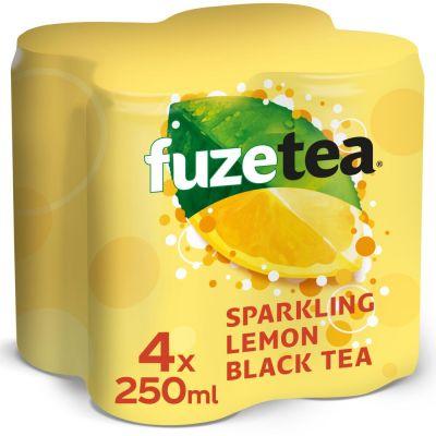 Fuze Tea Sparkling Lemon Black Tea blik 4 x 25cl