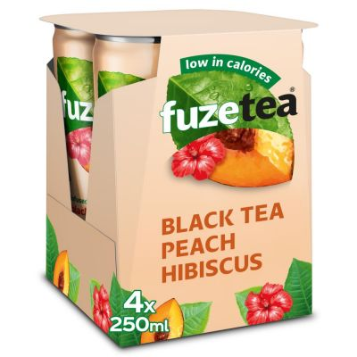 Fuze Tea Black Tea Peach Hibiscus blik 4 x 25cl