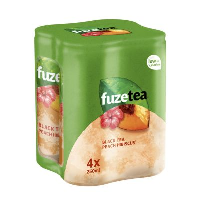 Fuze Tea Black Tea Peach Hibiscuss blik 4 x 25cl