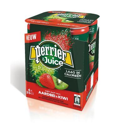 Perrier & Juice Aardbei-Kiwi blik 4 x 25cl