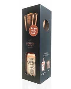 Copperhead Cup Box geschenk 50cl + 2 koperen bekers