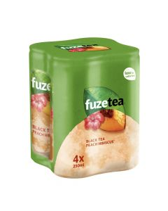 Fuze Tea Black Tea Peach Hibiscuss blik 4 x 25cl